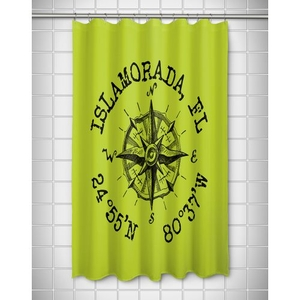 Custom Compass Rose Coordinates Shower Curtain - Lime