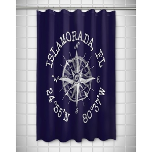Custom Compass Rose Coordinates Shower Curtain - Navy
