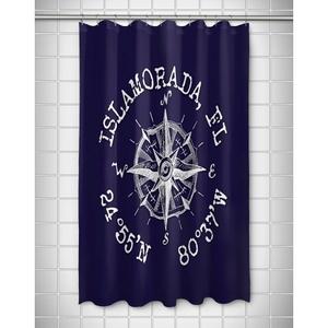 Custom Compass Rose Coordinates Shower Curtain - Navy