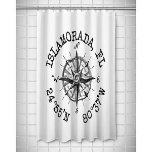 Custom Compass Rose Coordinates Shower Curtain - White