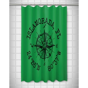 Custom Compass Rose Coordinates Shower Curtain - Green