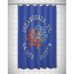 Custom Coral Duo Coordinates Shower Curtain - Blue
