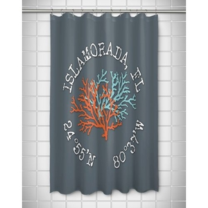 Custom Coral Duo Coordinates Shower Curtain - Gray