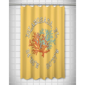 Custom Coral Duo Coordinates Shower Curtain - Yellow