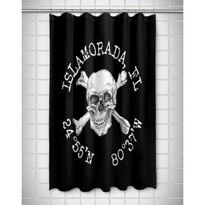 Custom Skull & Crossbones Coordinates Shower Curtain - Black