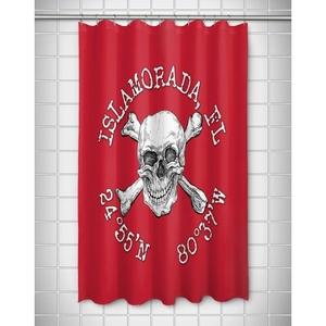 Custom Skull & Crossbones Coordinates Shower Curtain - Red