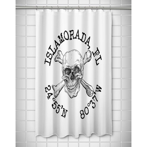 Custom Skull & Crossbones Coordinates Shower Curtain - White