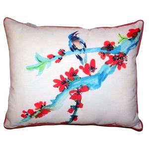 Red Buds & Bird Large Indoor Outdoor Pillow