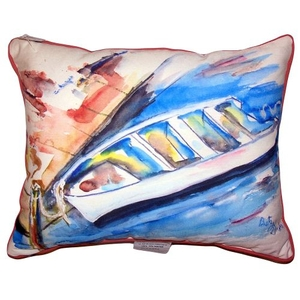 Rowboat At Dock Small Outdoor Indoor Pillow