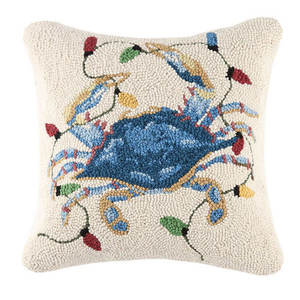 Christmas Crab Lights Hook Pillow