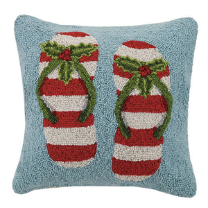 Christmas Flip Flops Hook Pillow