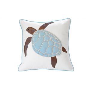 Cottage Blue Sea Turtle Pillow