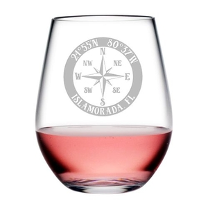 Custom Coordinates Compass Rose Acrylic Stemless Wine Glasses S/4
