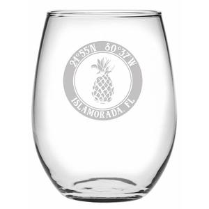 Custom Coordinates Pineapple Stemless Wine Glasses S/4