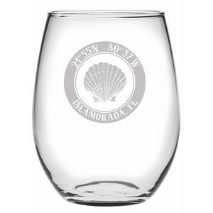 Custom Coordinates Seashell Stemless Wine Glasses S/4