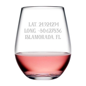 Custom Latitude Longitude Acrylic Stemless Wine Glasses S/4