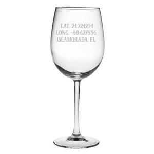 Custom Latitude Longitude All Purpose Wine Glasses S/4