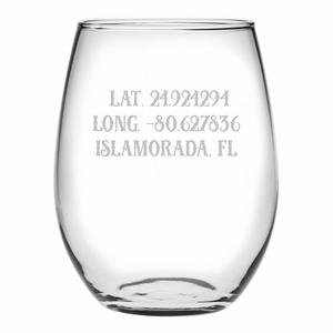 Custom Latitude Longitude Stemless Wine Glasses S/4