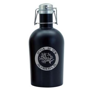 Custom Coordinates Coral Black Stainless Steel Beer Growler