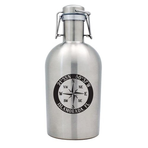 Custom Coordinates Compass Rose Stainless Steel Beer Growler
