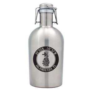 Custom Coordinates Pineapple Stainless Steel Beer Growler