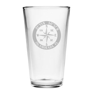 Custom Coordinates Compass Rose Pint Glasses S/4