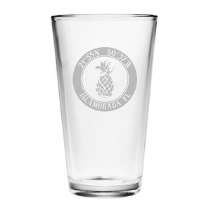 Custom Coordinates Pineapple Pint Glasses S/4