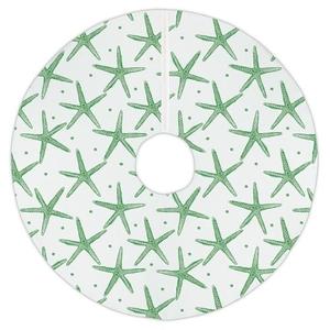 Pencil Starfish Christmas Tree Skirt - Green