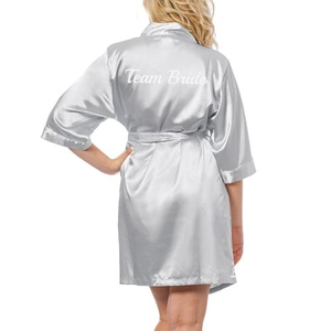 Team Bride Silver Satin Robe, (Large-Extra Large)