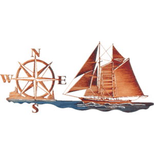 30 Inch Sailboat with Compass Rose Metal Wall Art