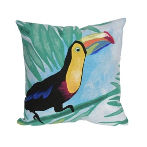 "Liora Manne Visions III Toucan Indoor/Outdoor Pillow Blue 20"" Square"