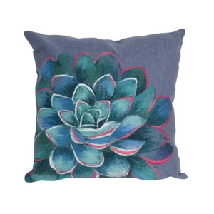"Liora Manne Visions III Succulent Indoor/Outdoor Pillow Blue 20"" Square"