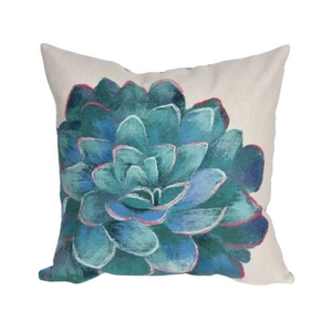 """Liora Manne Visions III Succulent Indoor/Outdoor Pillow Ivory 20"""" Square"""