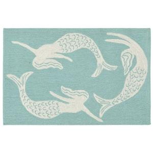 """Liora Manne Capri Mermaids Indoor/Outdoor Rug Blue 24""""X36"""""""