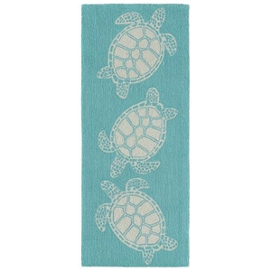 "Liora Manne Capri Turtle Indoor/Outdoor Rug Blue 24""X60"""