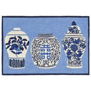 "Liora Manne Frontporch Ginger Jars Indoor/Outdoor Rug Blue 30""X48"""