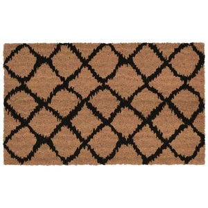 "Liora Manne Natura Ikat Lattice Indoor/Outdoor Mat Black 18""X30"""
