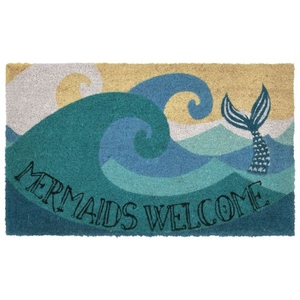 "Liora Manne Natura Mermaids Welcome Indoor/Outdoor Mat Blue 18""X30"""