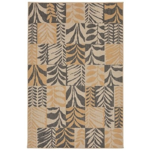 "Liora Manne Terrace Box Leaves Indoor/Outdoor Rug Grey 4'10""X7'6"""