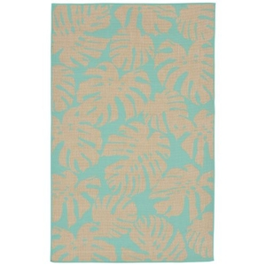 """Liora Manne Terrace Fronds Indoor/Outdoor Rug Blue 4'10""""X7'6"""""""