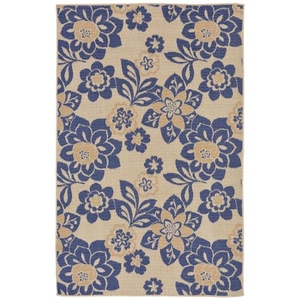 "Liora Manne Terrace Garden Indoor/Outdoor Rug Blue 4'10""X7'6"""