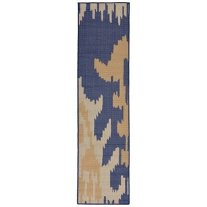 "Liora Manne Terrace Ikat Indoor/Outdoor Rug Blue 23""X7'6"""