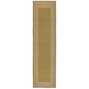 "Liora Manne Terrace Etched Border Indoor/Outdoor Rug Green 23""X7'6"""