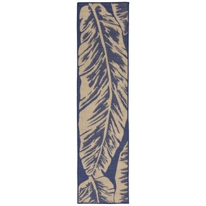 """Liora Manne Terrace Banana Leaf Indoor/Outdoor Rug Blue 23""""X7'6"""""""