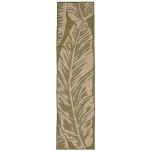 "Liora Manne Terrace Banana Leaf Indoor/Outdoor Rug Green 23""X7'6"""