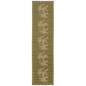 "Liora Manne Terrace Marching Elephants Indoor/Outdoor Rug Green 23""X7'6"""