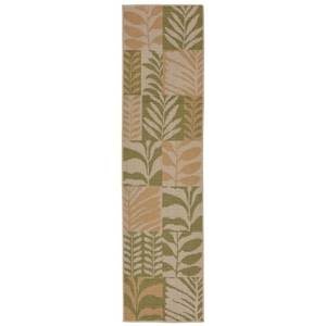 "Liora Manne Terrace Box Leaves Indoor/Outdoor Rug Green 23""X7'6"""