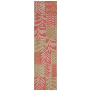 "Liora Manne Terrace Box Leaves Indoor/Outdoor Rug Rust 23""X7'6"""