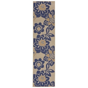 "Liora Manne Terrace Garden Indoor/Outdoor Rug Blue 23""X7'6"""