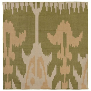 "Liora Manne Terrace Ikat Indoor/Outdoor Rug Green 7'10"" SQ"
